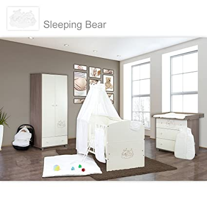 Babyzimmer 10-tlg. in Sonoma-Cream mit 2 turigem Kl. + Set Sleeping Bear Weiss