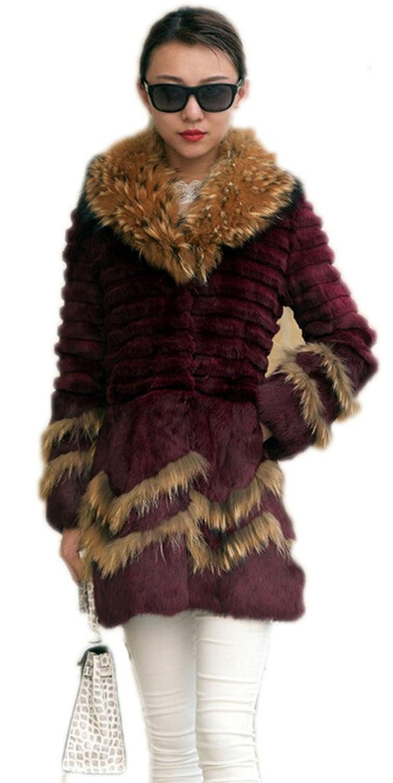 YR.Lover Damen Echt Kaninchen Pelz Slim Down Mantel&Jacke Mit Waschb?r Pelz Kragen online kaufen