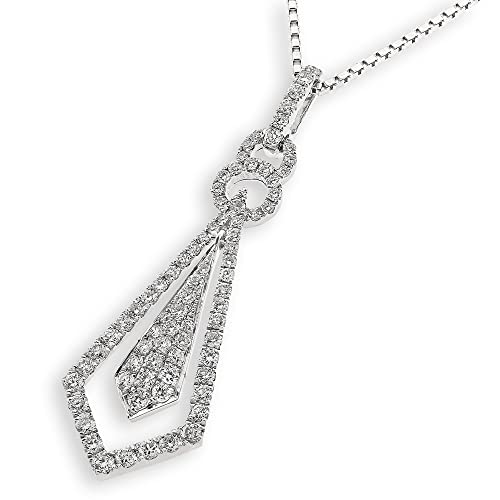 18K/750 White Gold Suit N Tie Diamond Pendant W/925 Silver Chain(0.47ct, G-H Color, SI1-SI2 Clarity)