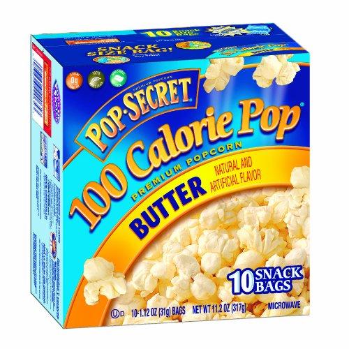 Pop Secret Snack Size 100 Calorie Pop, Microwavable Popcorn, Butter, 10 Count (Pack Of 3)