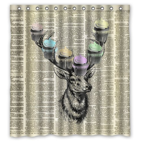 Home Curtain Deer With Cupcakes Vintage Dictionary Art Bathroom Shower Curtain With Rings ,100% Polyester 66x72inch (Patriot Cupcake Liners compare prices)