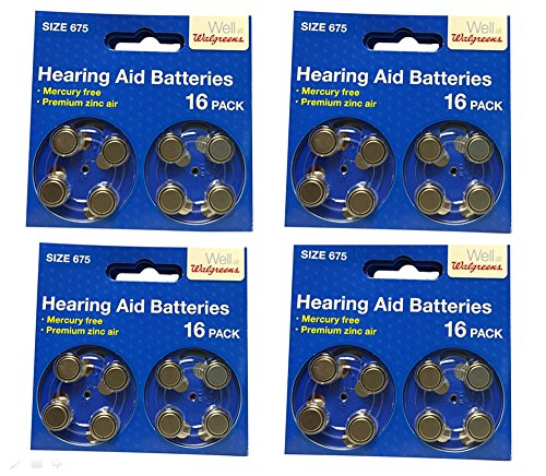 Hearing Aid Batteries Size 675 - 64 Batteries - Mercury Free /...