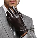 Harrms Best Luxury Touchscreen Italian Nappa Genuine Leather Gloves for men's Texting Driving Cashmere Lining (L-8.9
