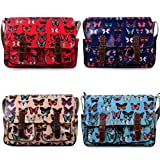 Ladies Cute Owl Oilcloth Messenger Cross Body School Satchel Changing Bag