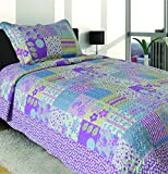 Mk Collection Twin Size 2 Pc Bedspread Teens/girls Purple Lavender Floral New 002