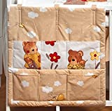 Cot bed TIDY POCKET ORGANISER approx 60x60cm nursery bedding baby toddler pattern teddys in a gardenbeige