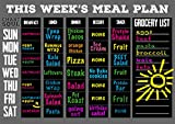 "Chart and Soul Magnetic Meal Planning Calendar and Grocery List Chalkboard - Large 16"" x 12"" Erasable Decal for Home, Kitchen, Dorm, and Office - Removable Weekly Prep Menu"