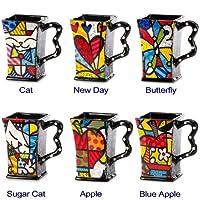 1 Pc New Romero Britto Square Mug Coffee Ceramic Authentic Dolomite Pop Art 6 Designs