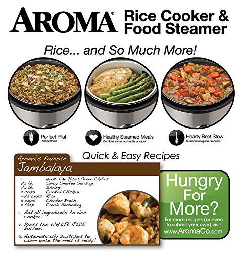Aroma 8-Cup (Cooked)  (4-Cup UNCOOKED) Digital Rice Cooker / Food Steamer, Stainless Steel Exterior (ARC-914SBD)