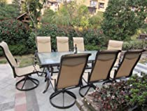 Hot Sale 9pc Cast Aluminum Swivel Sling Rocking Patio Furniture Set