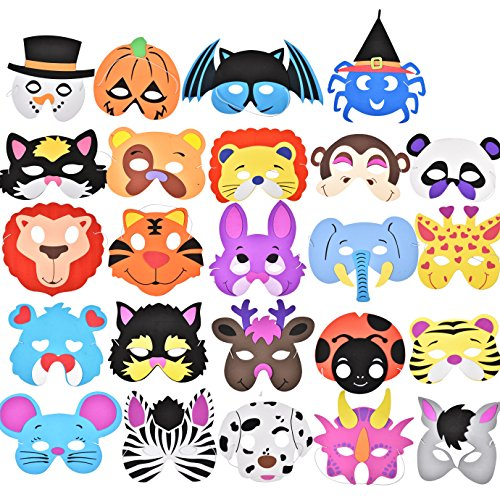 Joyin-Toy-24-Pieces-Assorted-Foam-Animal-Masks-for-Birthday-Party-Favors-Dress-Up-Costume