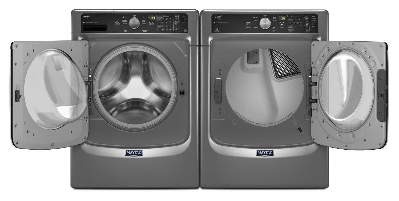 Maytag Power Pair- Heritage Series Mega Capacity HE Front Load Laundry System With Steam Options and matching ELECTRIC Dryer(MHW8100DC + MEDC8100DC)*METALLIC SLATE FINISH*