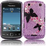 Diamante Diamond Case Cover For Blackberry 9380 Curve / Path of Butterfly Black