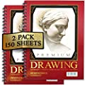 Sketch Pad (2 Pack) 150 Sheets, 9x12, Premium Sketchbook 60 LBS/90 GSMS - Acid Free - Fine Tooth - Perfect for Sketching, Drawing, Doodling, & More! by Artist's Choice