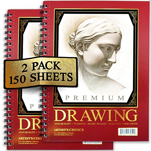 Sketch Pad (2 Pack) 150 Sheets, 9x12, Premium Sketchbook 60 LBS/90 GSMS - Acid Free - Fine Tooth - Perfect for Sketching, Drawing, Doodling, & More!