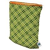 Planet Wise Wet Diaper Bag, Lime Plaid, Medium