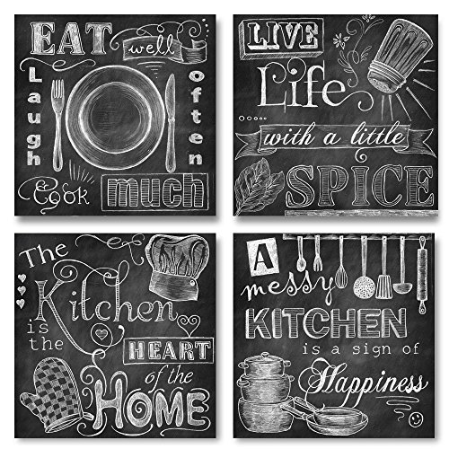 Beautiful, Fun, Chalkboard Kitchen Signs; Messy Kitchen, Heart of the Home, Spice of Life, and Cook Much; Four 12x12in Prints