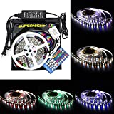 SINOLLC Flexible RGBW LED Strip Lights 5M 5050 300 LEDs RGB Daylight White Non-waterproof Indoor Strip Lights Full Kit RGB+White Color Changing LED Strip Light with 40-Key RGBW LED Controller+DC12V Power Adapter -White lack Tape Version