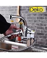 iDeko® Miscelatore lavello Rubinetto cucina con Doccetta Estraibile, miscelatore monocomando, con flessibili x 2, Cromo