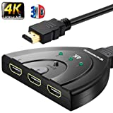 HDMI Cable Switch splitter 3 in 1 out ports with High Speed Pigtail Cable Supports 1080P&3D, HD Audio(HDMI Switch)