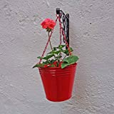 Metal Bucket Hanging - Red