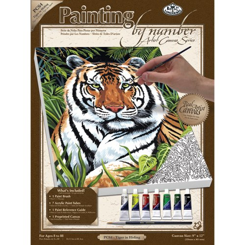 Royal & Langnickel Painting by Numbers Small Canvas Painting Set, Tiger in Hiding - 1