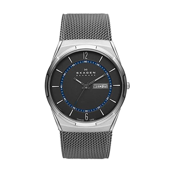Skagen Men's Melbye Quartz Titanium and Stainless Steel Mesh Casual Watch, Color: Grey (Model: SKW6078) (Color: Black, Tamaño: one size)