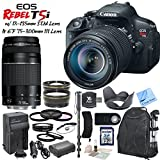 Canon EOS Rebel T5i Digital SLR Camera W Canon EF-S 18-135mm f 3.5-5.6 IS STM Lens & Canon EF 75-300mm f 4-5.6 III Lens & CS Picture Perfect Kit: Includes High Definition Wide Angle Lens - Telephoto HD Lens - Tulip Lens Hood - 3 Piece HD Filter Kit - 4 Piece Macro Close-Up Set - Cap Keeper - DSLR Series Padded Backpack - Canon LPE8 Replacement Battery - Rapid Travel Charger With Car Adapter - Monopod - Remote Shutter Release - 32GB SDHC Memory Card - SD Card Reader - Memory Card Wallet - Brush Blower - Cleaning Kit & CS Microfiber Cleaning Cloth