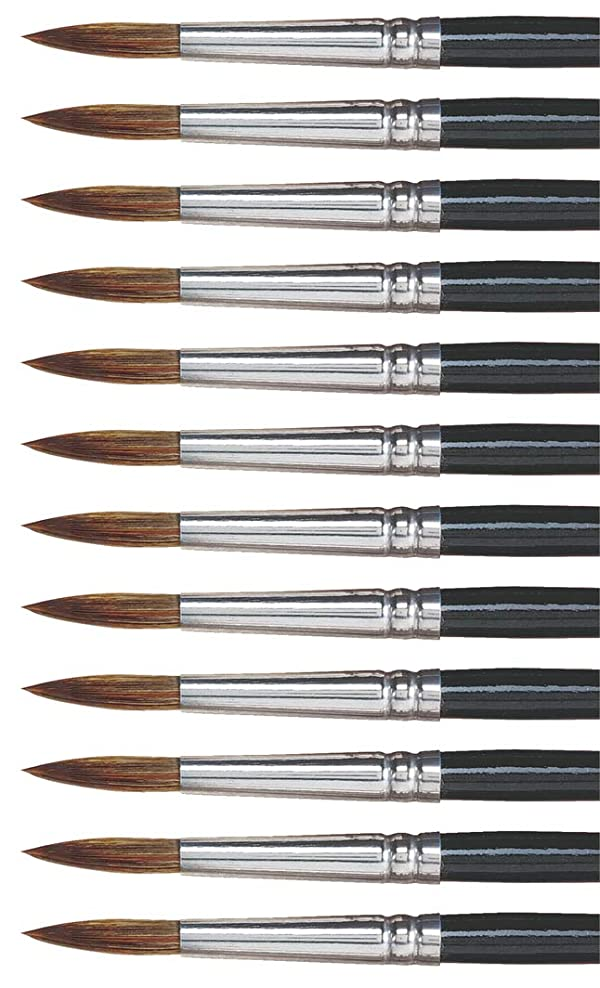Dynasty 27878 Round Camel Hair Short Enameled Wood Handle Watercolor Paint Brush, Size 10, 1-1/16 Hair, 0.5 Height, 2.5 Width, 8.5 Length, Black (Pack of 12) (Color: Black, Tamaño: 10)