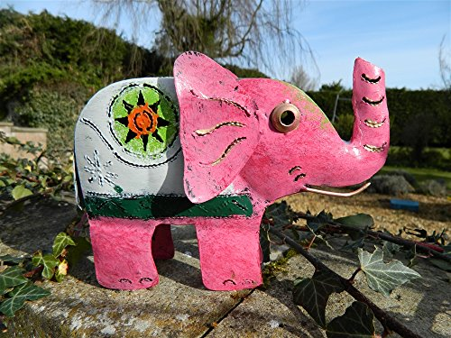 Elephant Tea light Candle Holder Metal Elephant Table Garden Lantern - Pink Elephant Tealight