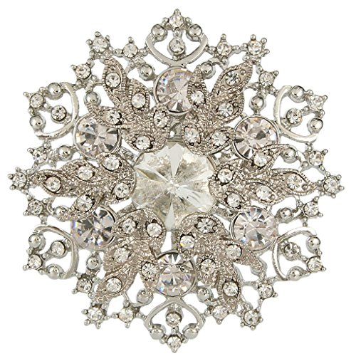 EVER FAITH Austrian Crystal Elegant Winter Snowflake Bridal Corsage Brooch Pin Clear - 2 Inch x 2 Inch (Crystal Brooch compare prices)