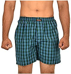 CALICO Men's Cotton Boxers (CAL_24_XL, Black and Green, XL)