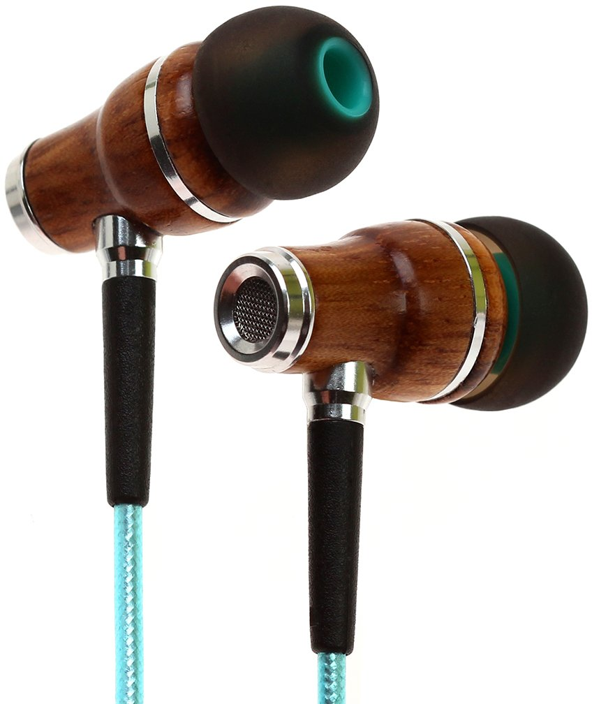 Symphonized NRG 2.0 Premium Genuine Wood In-ear Noise-isolating Headphones|Earbuds|Earphones with Innovative Shield Technology Cable and Mic (Turquoise)
