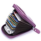 Leather Credit Card Wallet with Zipper, MaxGear RFID Credit Card Holder for Women Ladies Wallets (Color: Purple, Tamaño: small Purple)