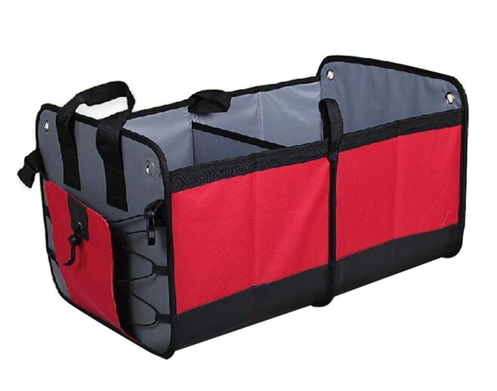 Crusar Auto Trunk Multipurpose Waterproof Storage Collapsible Foldable Cargo Storage Box Red
