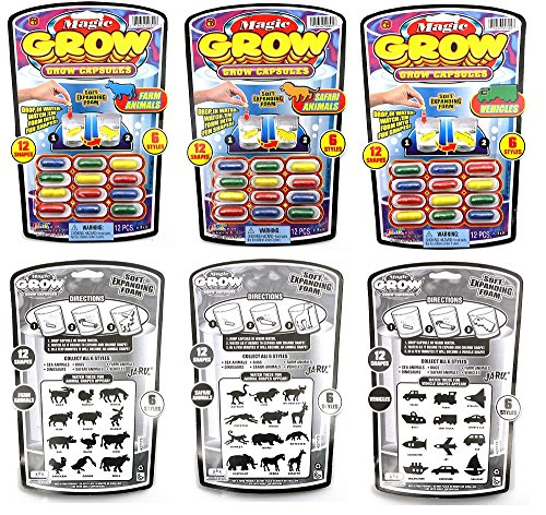 Magic Grow Capsules - Instant Foam Shapes - Set #1 - Farm Animals, Safari Animals, Vehicles
