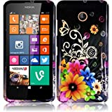 Nokia Lumia 635 (US Carrier: T-Mobile MetroPCS and AT&T) Premium Pretty Design Protector Cover Case + 1 of New Assorted Color Metal Stylus Touch Screen Pen (Yellow Pink Chromatic Flower Black Silver Butterfly)