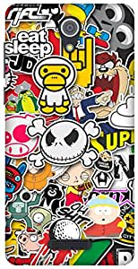 The Racoon Grip Sticker Bomb hard plastic printed back case for Gionee Marathon M4