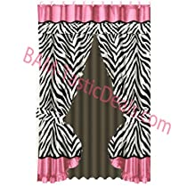 ZEBRA Black/White/Pink PRINTED Fabric Double Swag Shower Curtain