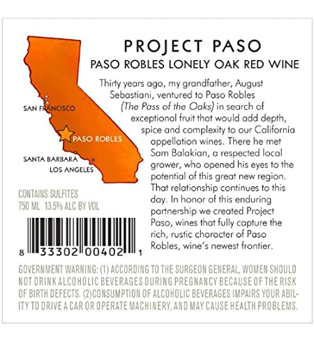 2011 Project Paso Lonely Oak Red Blend, Paso Robles 750 mL at Amazon's
