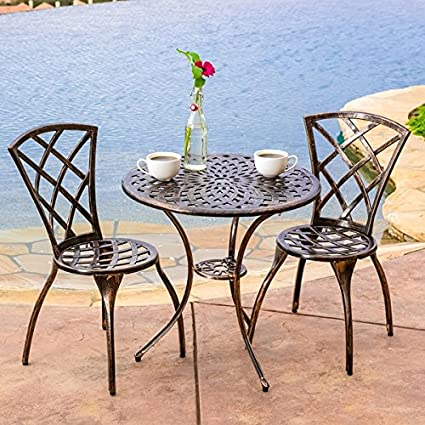 Patio Furniture Clearance 3 Piece Table and Chair Outdoor Backyard Bistro Set