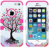 myLife Bright Pink - Colorful Tree of Love Series (Neo Hypergrip Flex Gel) 3 Piece Case for iPhone 5/5S (5G) 5th Generation iTouch Smartphone by Apple (External 2 Piece Fitted On Hard Rubberized Plates + Internal Soft Silicone Easy Grip Bumper Gel) Attention: This case comes grip easy smooth silicone that slides in to your pocket easily yet won't slip out of your hand
