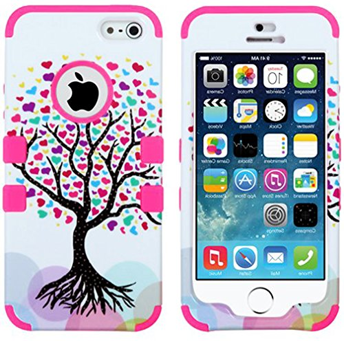 "Mylife Bright Pink - Colorful Tree Of Love Series (Neo Hypergrip Flex Gel) 3 Piece Case For Iphone 5/5S (5G) 5Th Generation Smartphone By Apple (External 2 Piece Fitted On Hard Rubberized Plates + Internal Soft Silicone Easy Grip Bumper Gel) ""Attention: T"