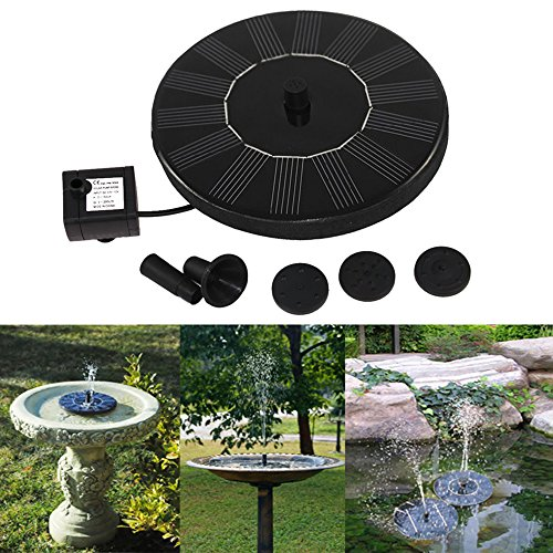 Cute Solar Powered Bird bath Fountain Pump, Free Standing Garden 1.4W Solar Panel Kit Water Pump, Outdoor Watering Submersible Pump (Circle)-By Ankway (Birdbath & Stand Not Included)