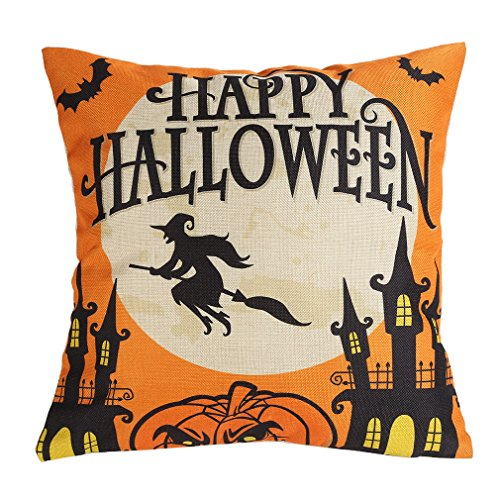 [LeiOh Decorative Cotton Linen Square Unique Personality Happy Halloween Printed Pattern Throw Pillow Case Cushion Cover 18 x 18] (Outdoor Halloween Ideas)