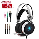 PC Gaming Headset with Mic, 3D Surround Sound Headphones with 50mm Speaker Driver, Noise Cancelling Over-Ear Headsets with LED Light - 3.5mm Connection for PS4/ Xbox One Controller/ Laptops/Smartphone (Color: Grey)