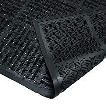 "Wearwell Natural Rubber 227 OutFront Reversible Mat, for Outdoor Entrances, 3' Width x 6' Length x 7/16"" Thickness, Black"