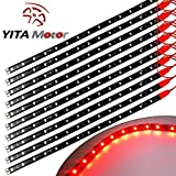 YITAMOTOR 10x 12V Car Motorcycle 30CM 15SMD LED Waterproof Flexible Pure Red Light Strip