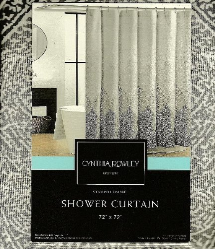 Cynthia Rowley Luxury Stamped Ombre Grey White Fabric Shower Curtain