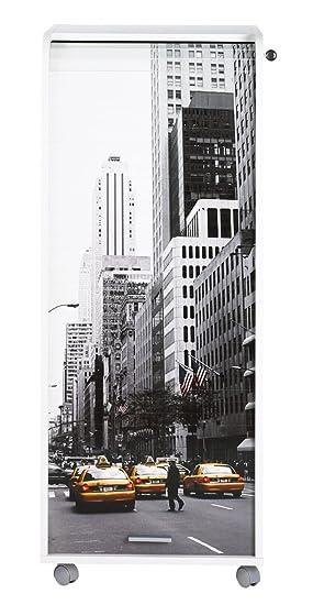 SIMMOB orga110blb504nueva york 500–Subwoofer de escritorio con ruedas–Cortina impresa madera blanco 47x 47,2x 107,6cm